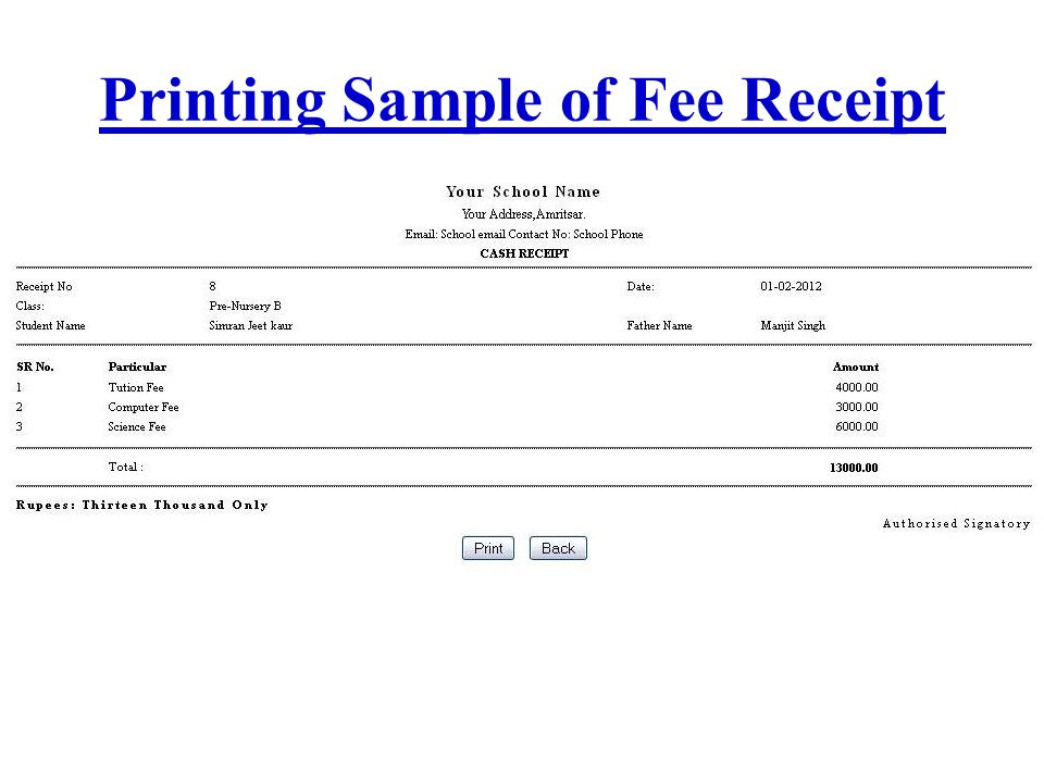 Printing Sample of Fee Receipt