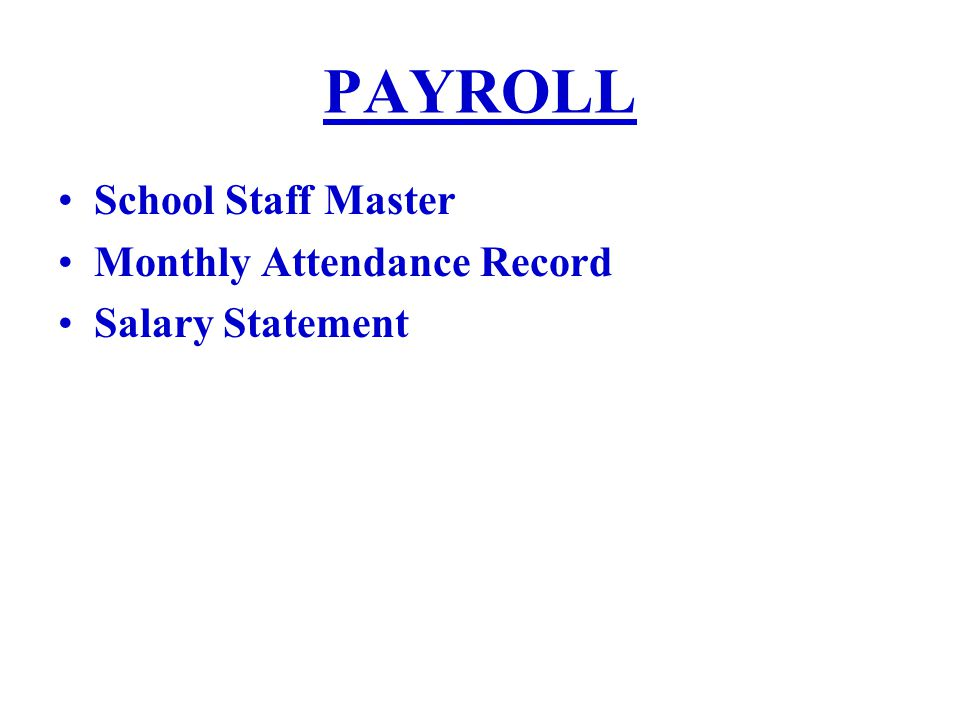 PAYROLL School Staff Master Monthly Attendance Record Salary Statement