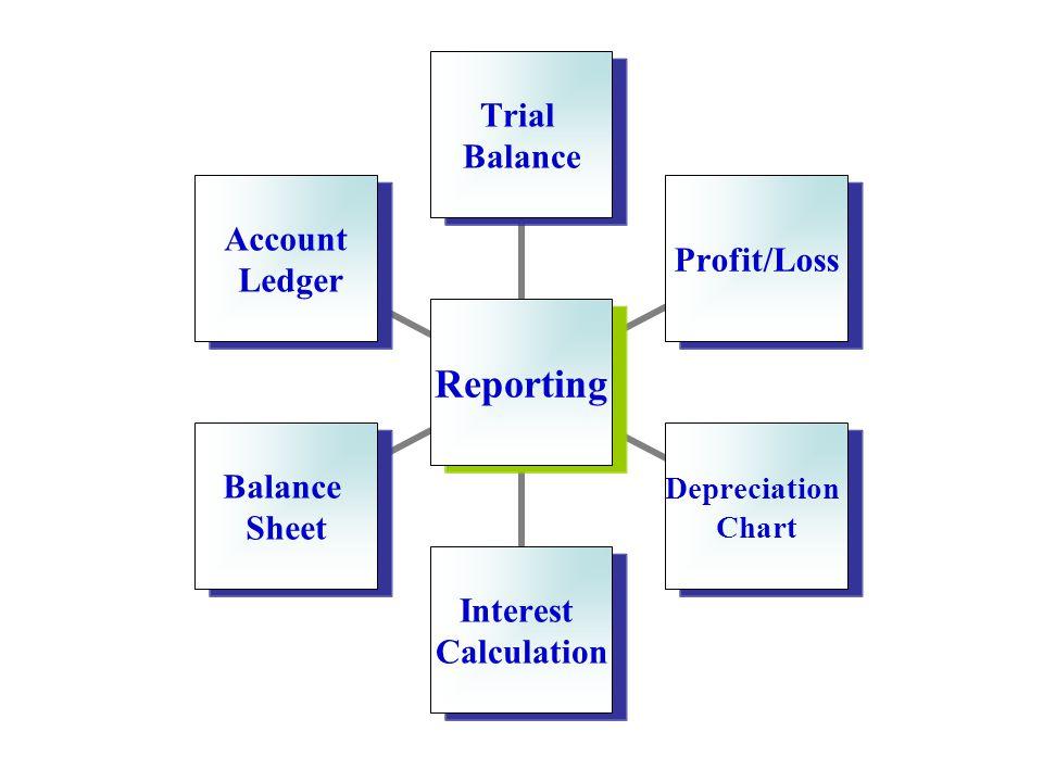 Reporting Trial Balance Profit/Loss Depreciation Chart Interest Calculation Balance Sheet Account Ledger