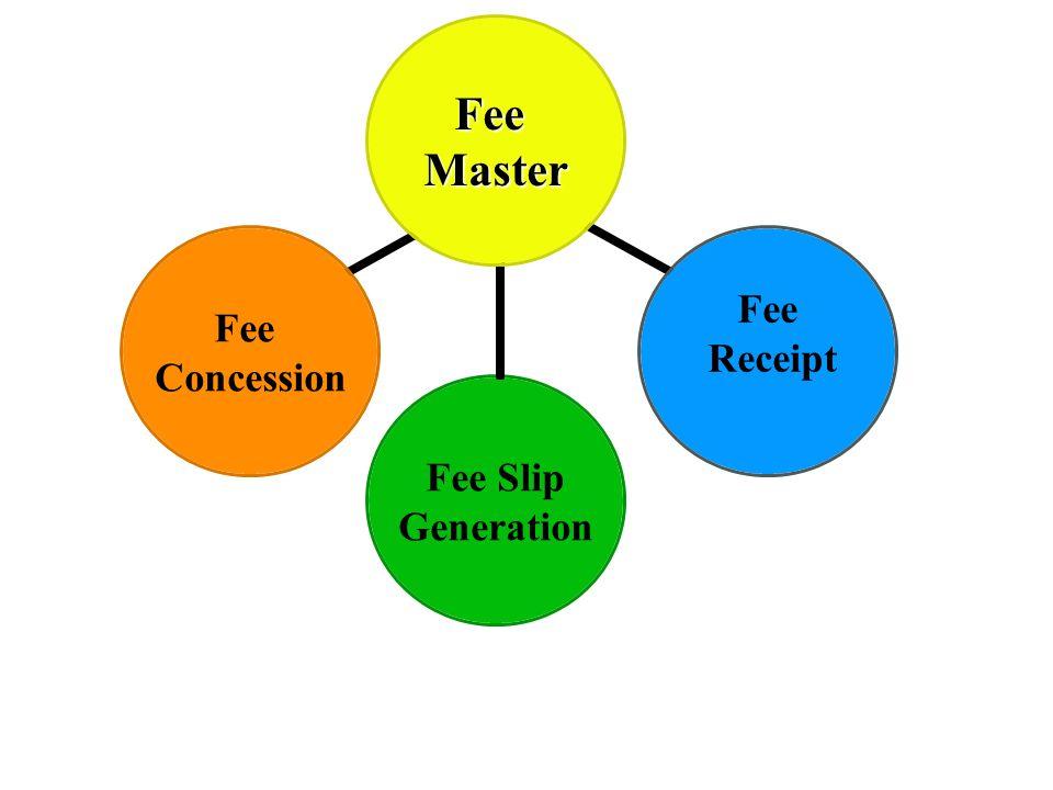 FeeMaster Fee Concession Fee Receipt Fee Slip Generation