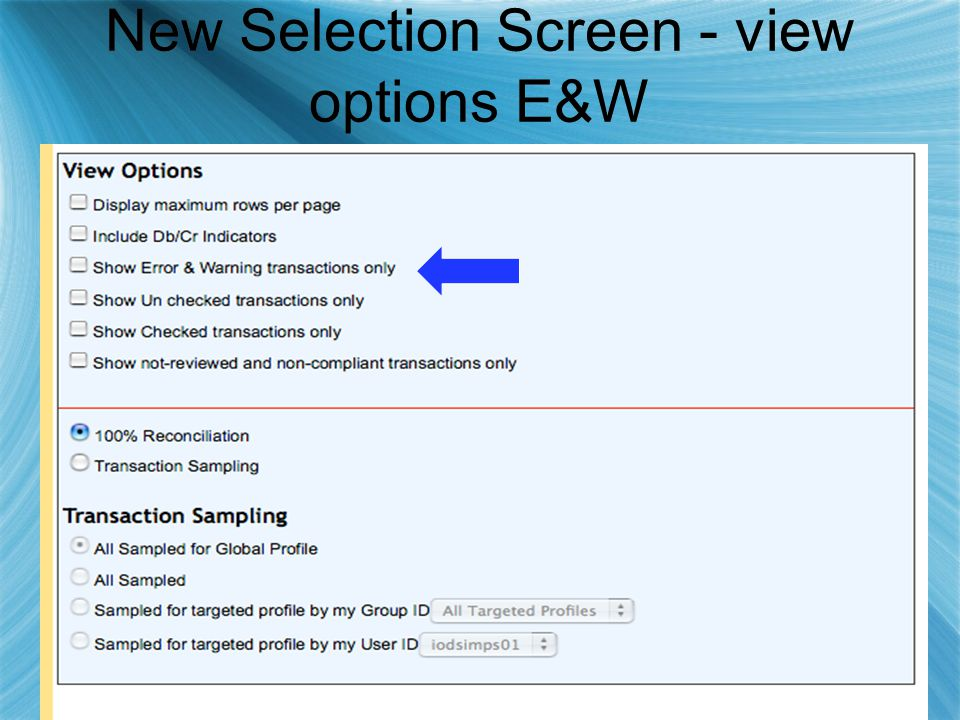 New Selection Screen - view options E&W