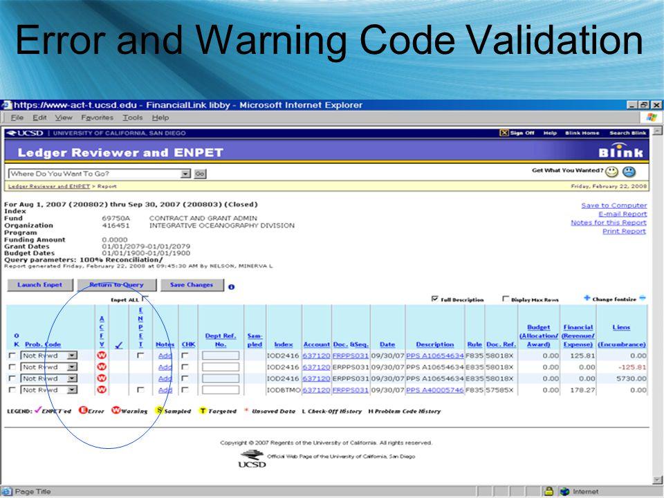 Error and Warning Code Validation