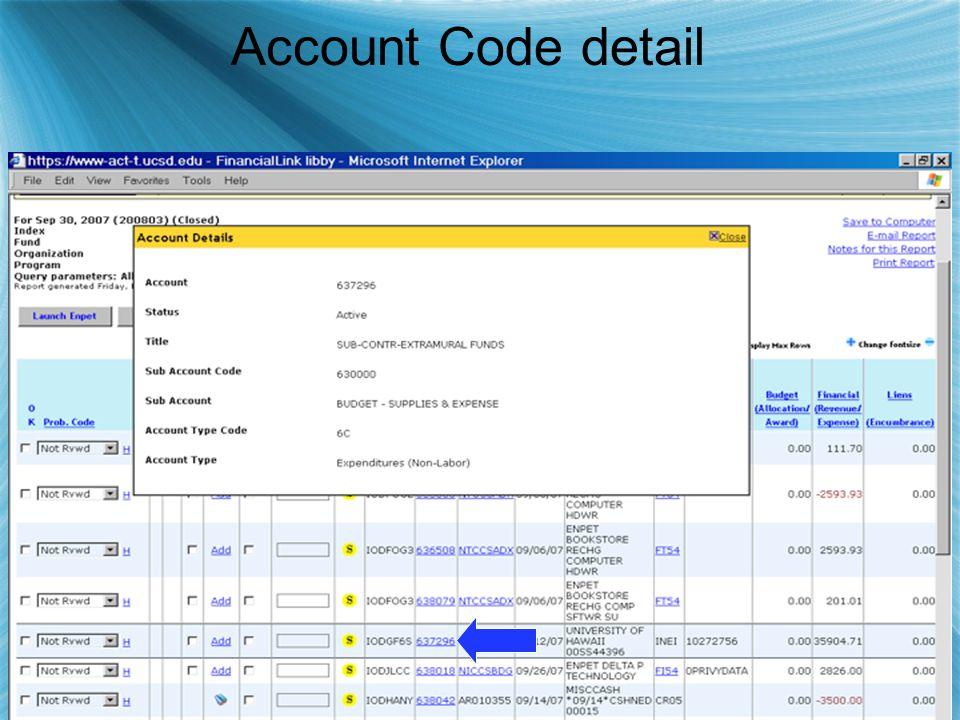 Account Code detail
