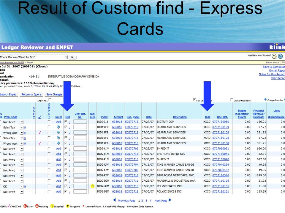 Result of Custom find - Express Cards
