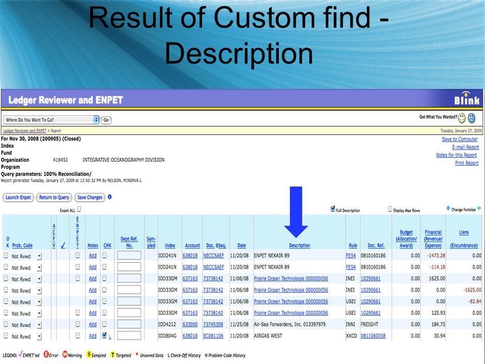Result of Custom find - Description