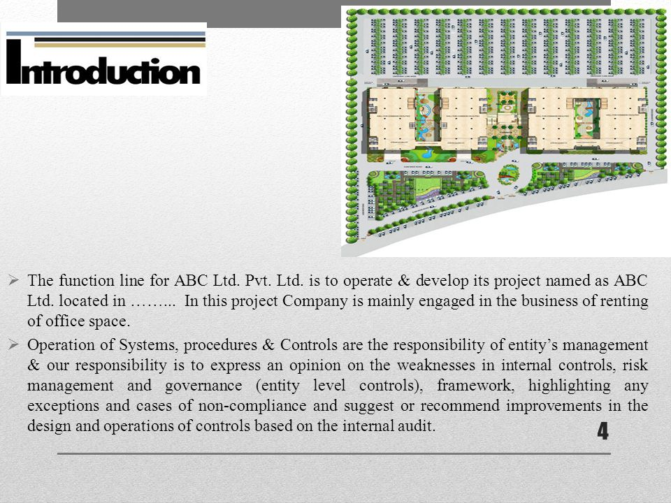  The function line for ABC Ltd. Pvt. Ltd. is to operate & develop its project named as ABC Ltd.