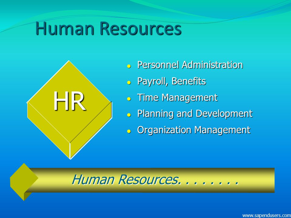 Human Resources l Personnel Administration l Payroll, Benefits l Time Management l Planning and Development l Organization Management HR Human Resourc