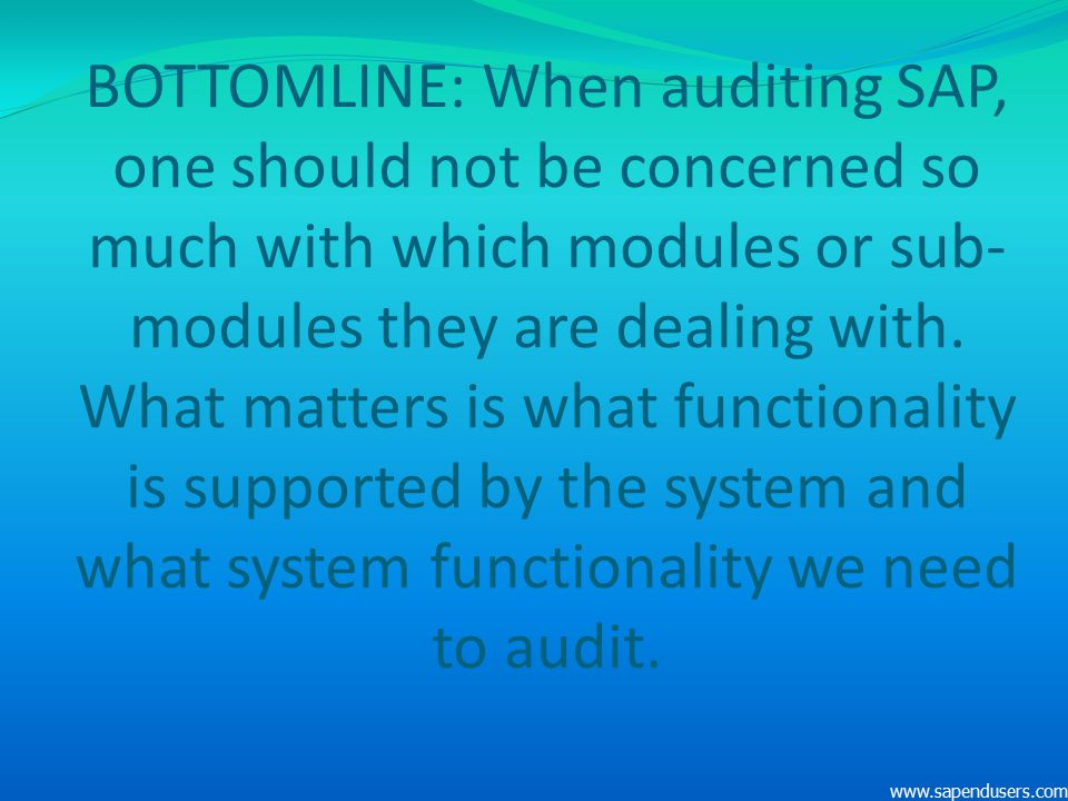BOTTOMLINE: When auditing SAP, one should not be concerned so much with which modules or sub- modules they are dealing with. What matters is what func