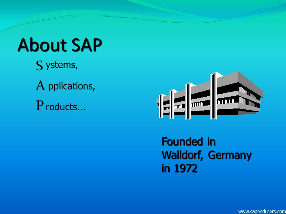 About SAP SAPSAP ystems, pplications, roducts... Founded in Walldorf, Germany in 1972 www.sapendusers.com