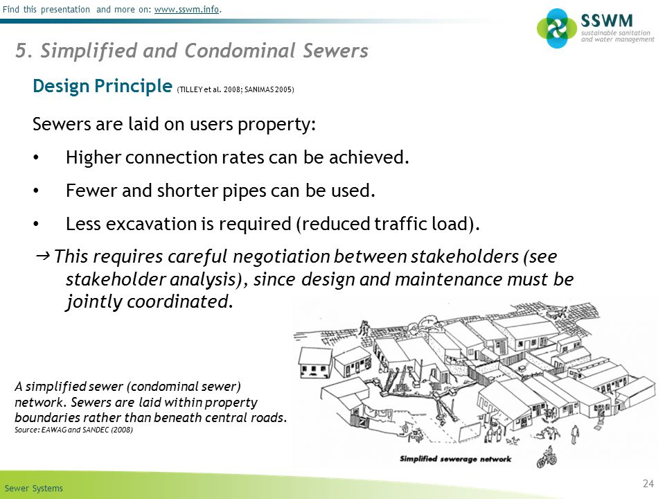 Sewer Systems Find this presentation and more on: www.sswm.info.www.sswm.info Design Principle (TILLEY et al. 2008; SANIMAS 2005) Sewers are laid on u