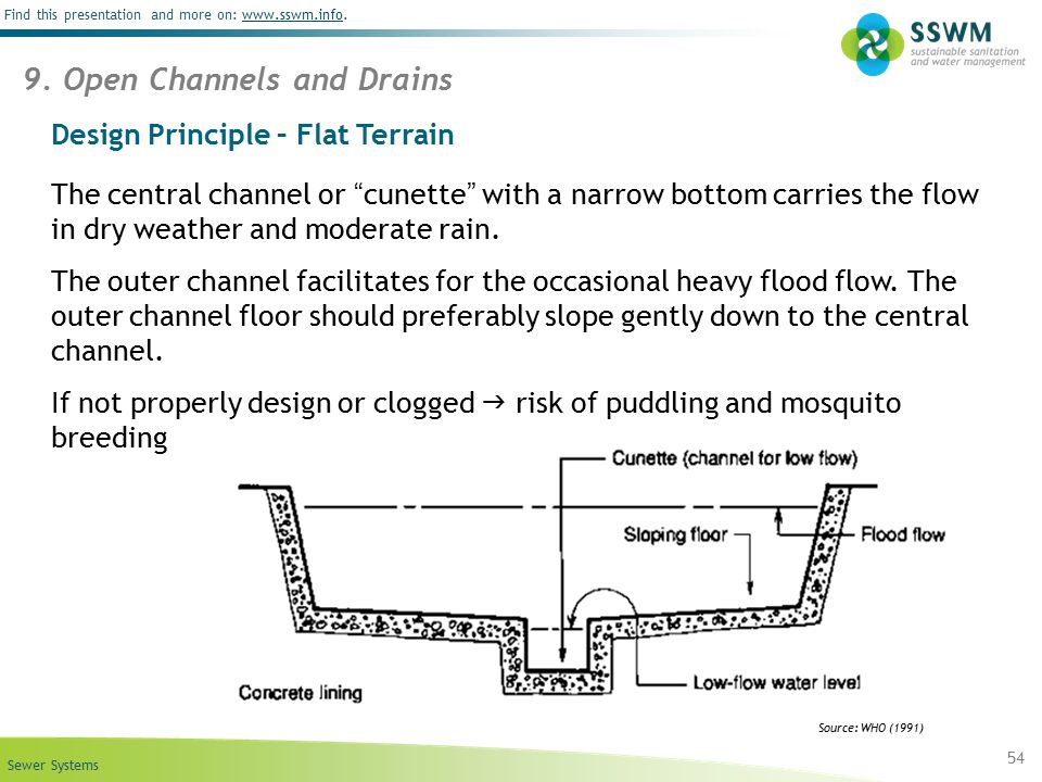 """Sewer Systems Find this presentation and more on: www.sswm.info.www.sswm.info Design Principle – Flat Terrain The central channel or """"cunette"""" with a"""
