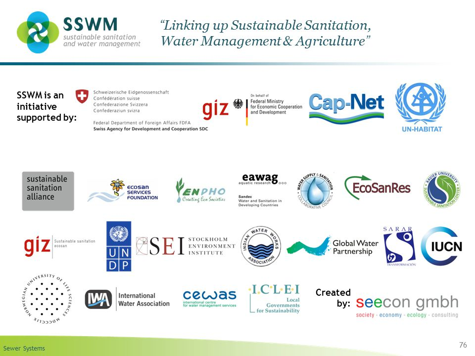 """Sewer Systems 76 """"Linking up Sustainable Sanitation, Water Management & Agriculture"""" SSWM is an initiative supported by: Created by:"""