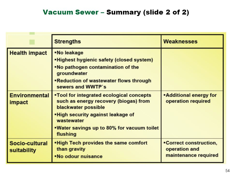 54 Vacuum Sewer – Summary (slide 2 of 2)
