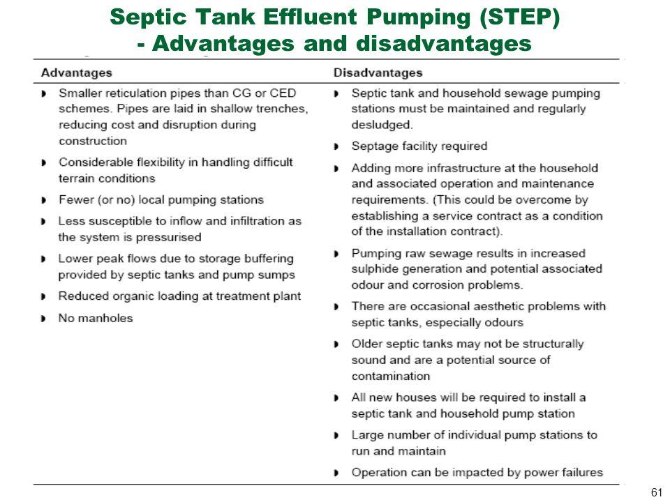 61 Septic Tank Effluent Pumping (STEP) - Advantages and disadvantages