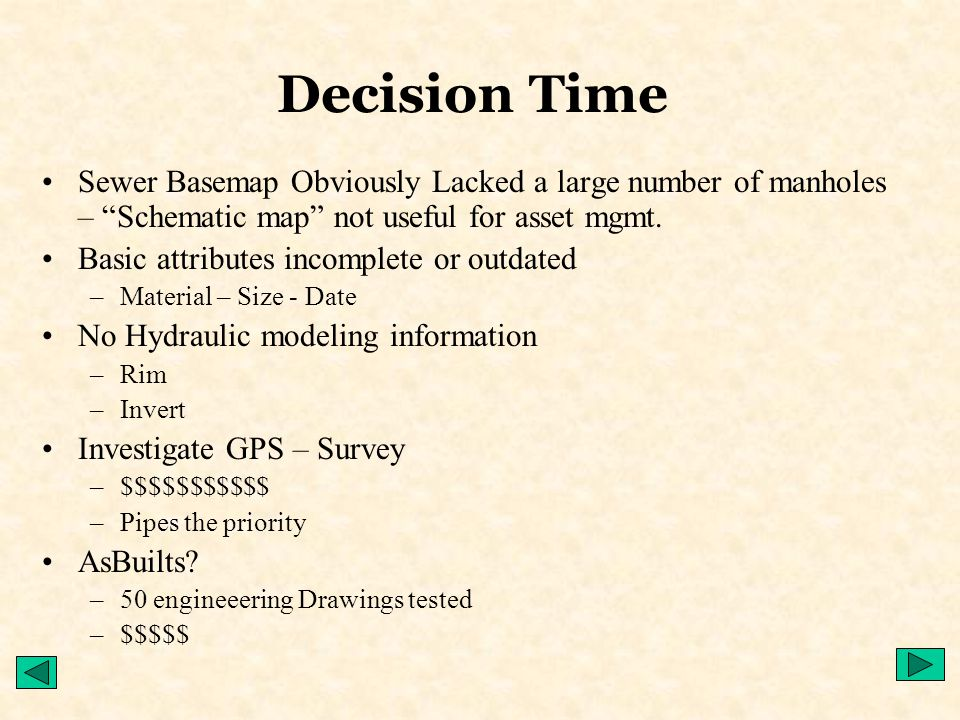 Decision Time Sewer Basemap Obviously Lacked a large number of manholes – Schematic map not useful for asset mgmt.