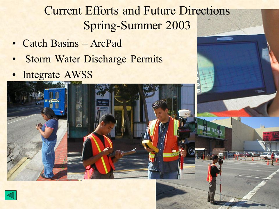 Current Efforts and Future Directions Spring-Summer 2003 Catch Basins – ArcPad Storm Water Discharge Permits Integrate AWSS