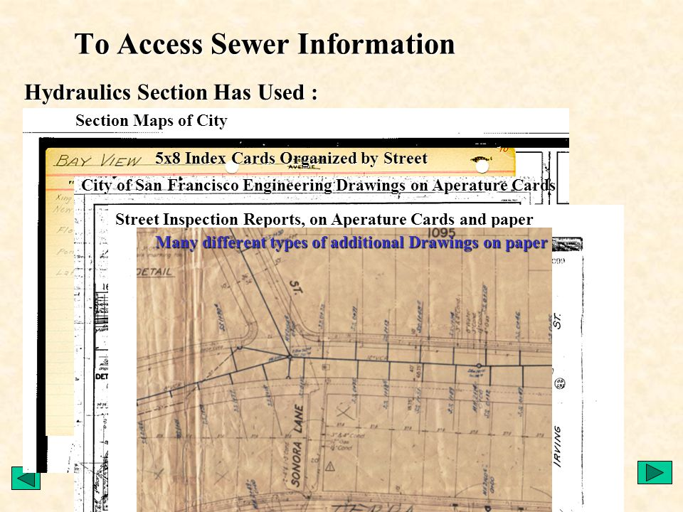 Creation of CCSF Basemap (1993-5) –Aerial Photos –Parcels –Features –Street Centerlines –Major portion of funding from Clean Water Program City Wide Basemap by ValueCAD