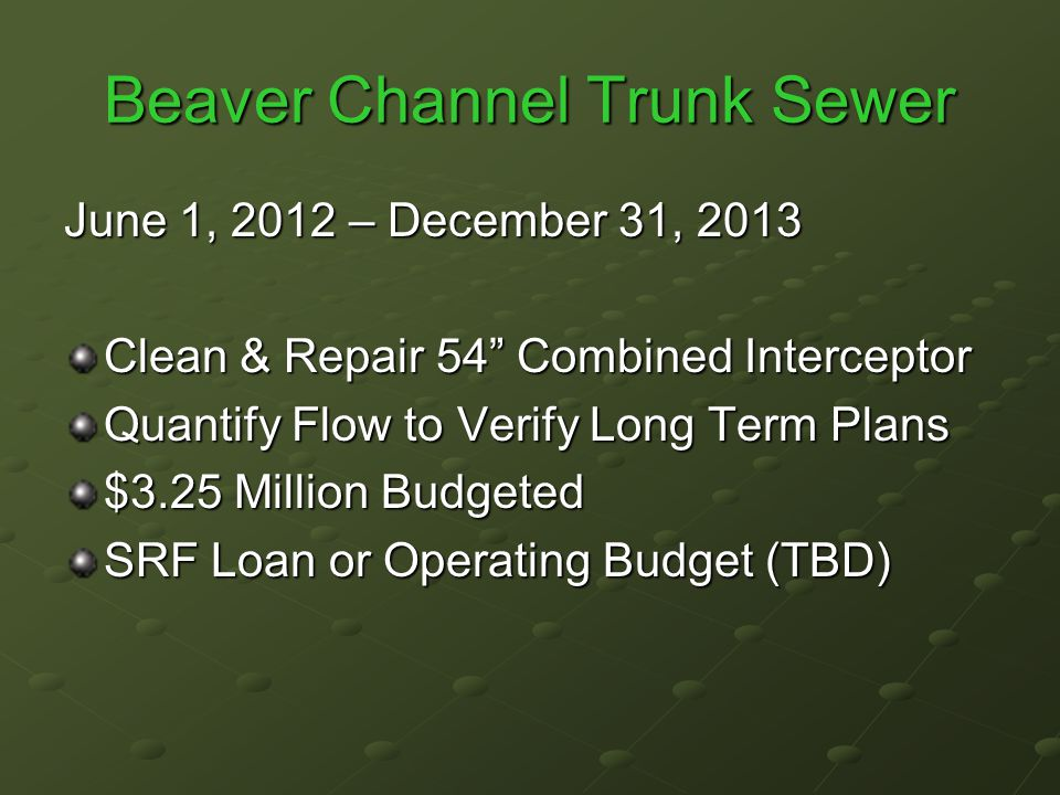 Beaver Channel Trunk Sewer June 1, 2012 – December 31, 2013 Clean & Repair 54 Combined Interceptor Quantify Flow to Verify Long Term Plans $3.25 Million Budgeted SRF Loan or Operating Budget (TBD)