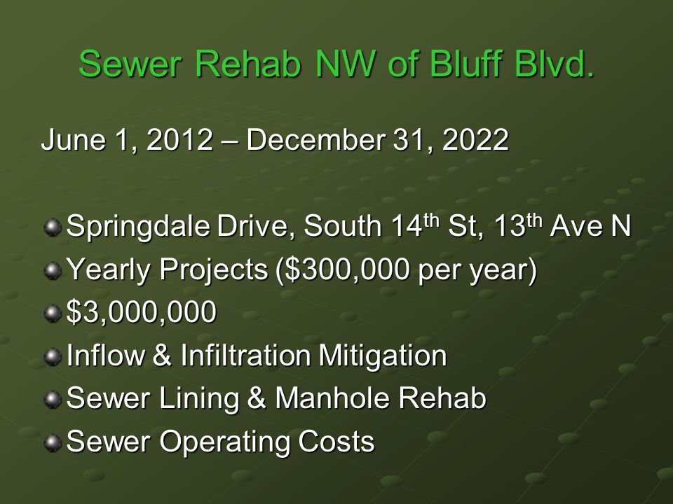 Sewer Rehab NW of Bluff Blvd.