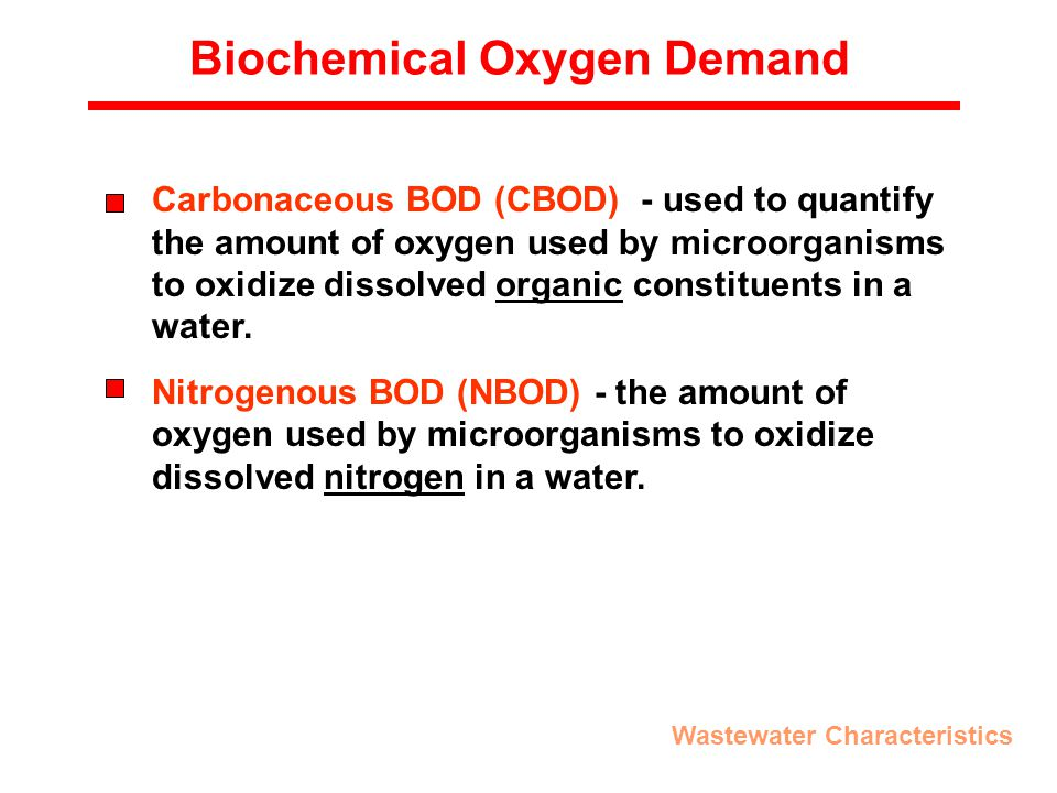 Biochemical Oxygen Demand Carbonaceous BOD (CBOD) - used to quantify the amount of oxygen used by microorganisms to oxidize dissolved organic constituents in a water.