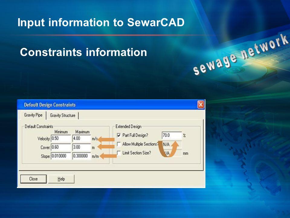 Input information to SewarCAD Constraints information
