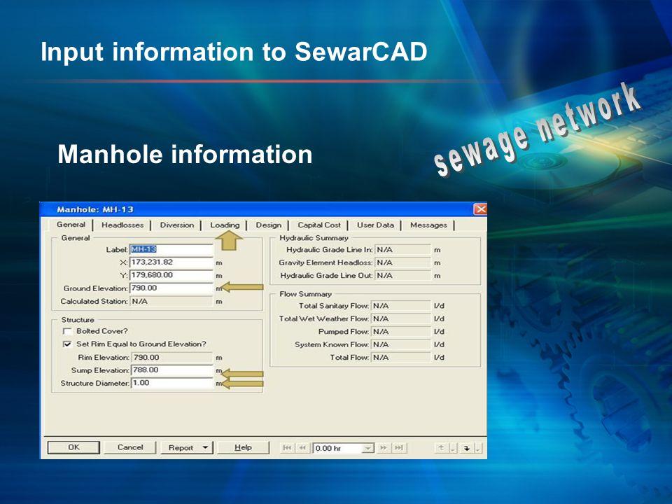Input information to SewarCAD Manhole information