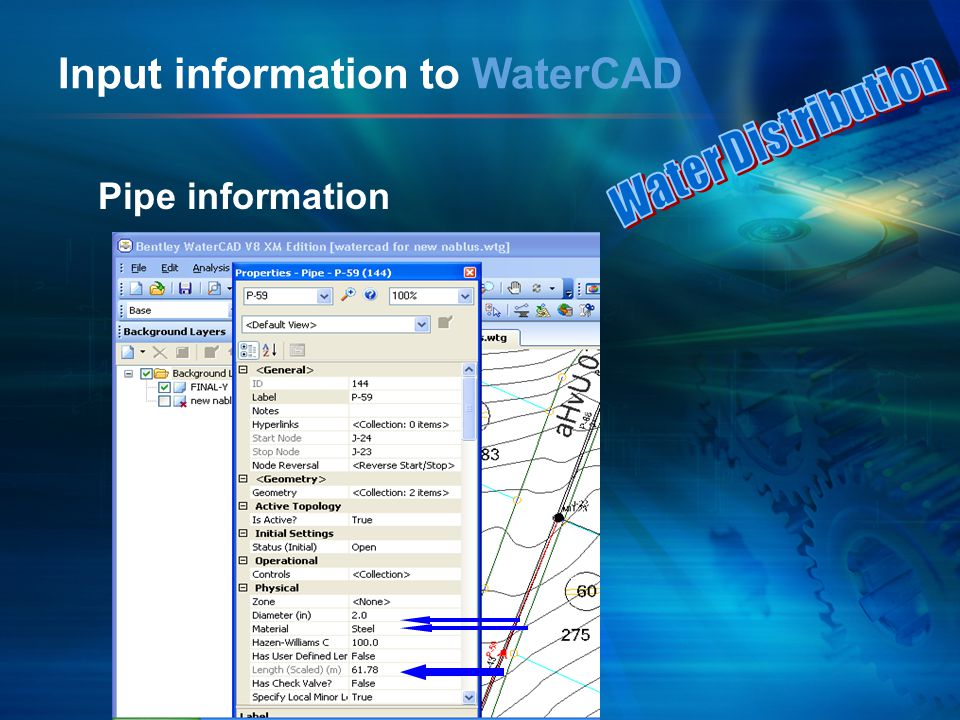 Input information to WaterCAD Pipe information