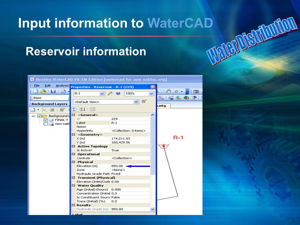 Input information to WaterCAD Reservoir information