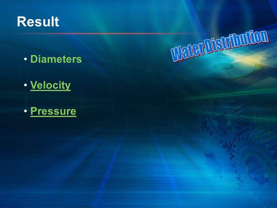 Result Diameters Velocity Pressure