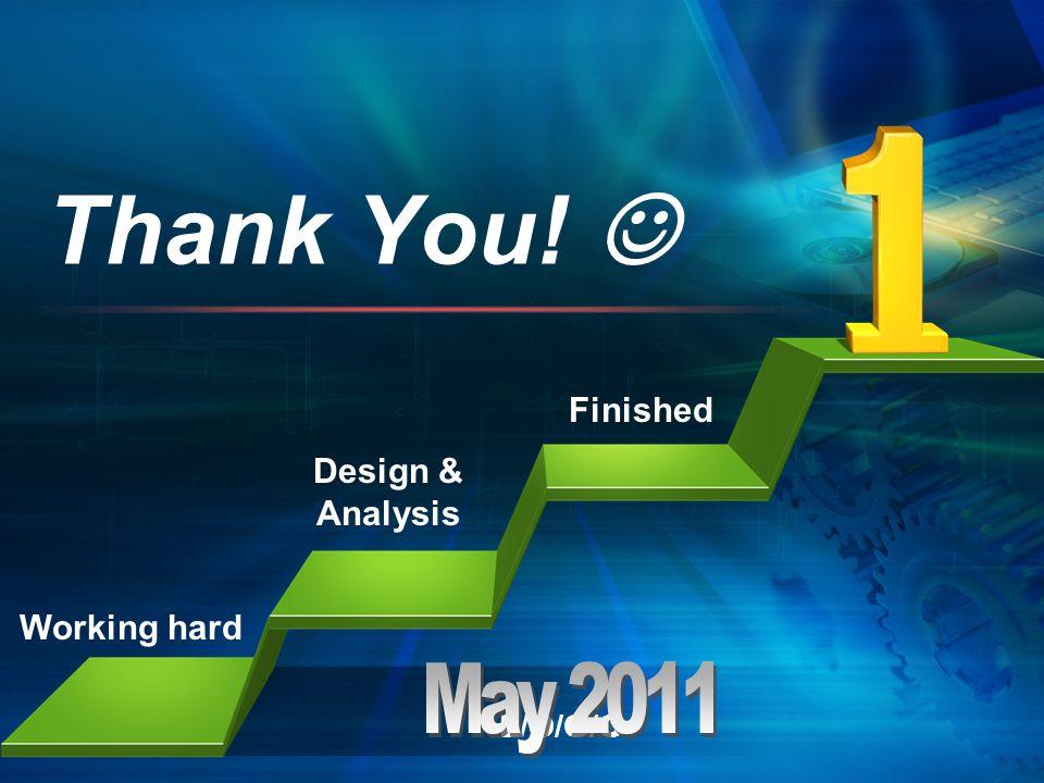 L/O/G/O Thank You! Working hard Design & Analysis Finished
