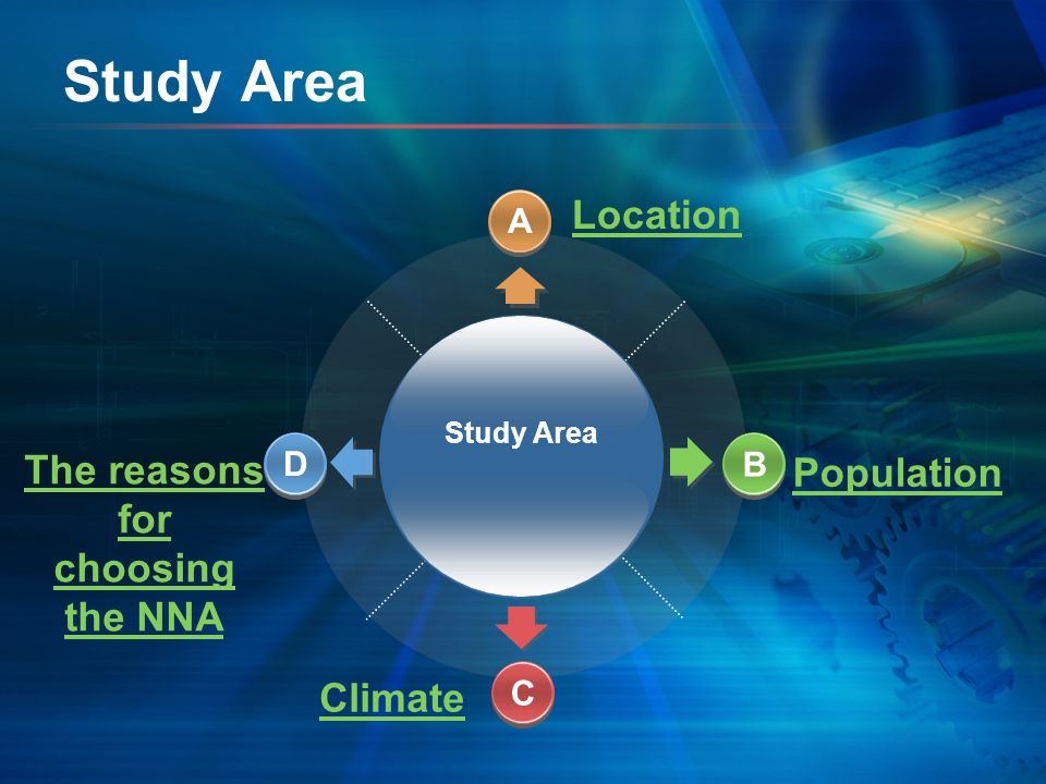 Study Area Climate Population The reasons for choosing the NNA Location Study Area A D B C