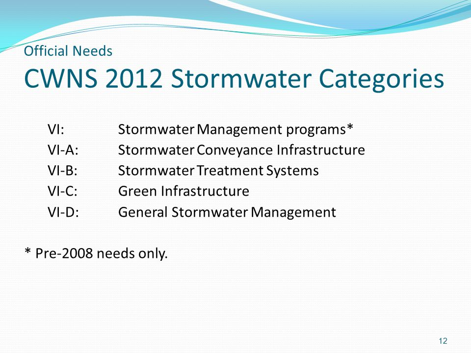 Official Needs CWNS 2012 Stormwater Categories 12 VI: Stormwater Management programs* VI-A: Stormwater Conveyance Infrastructure VI-B:Stormwater Treatment Systems VI-C:Green Infrastructure VI-D:General Stormwater Management * Pre-2008 needs only.