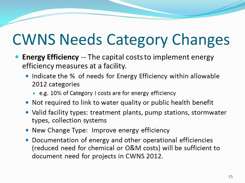 CWNS Needs Category Changes Energy Efficiency -- The capital costs to implement energy efficiency measures at a facility. Indicate the % of needs for