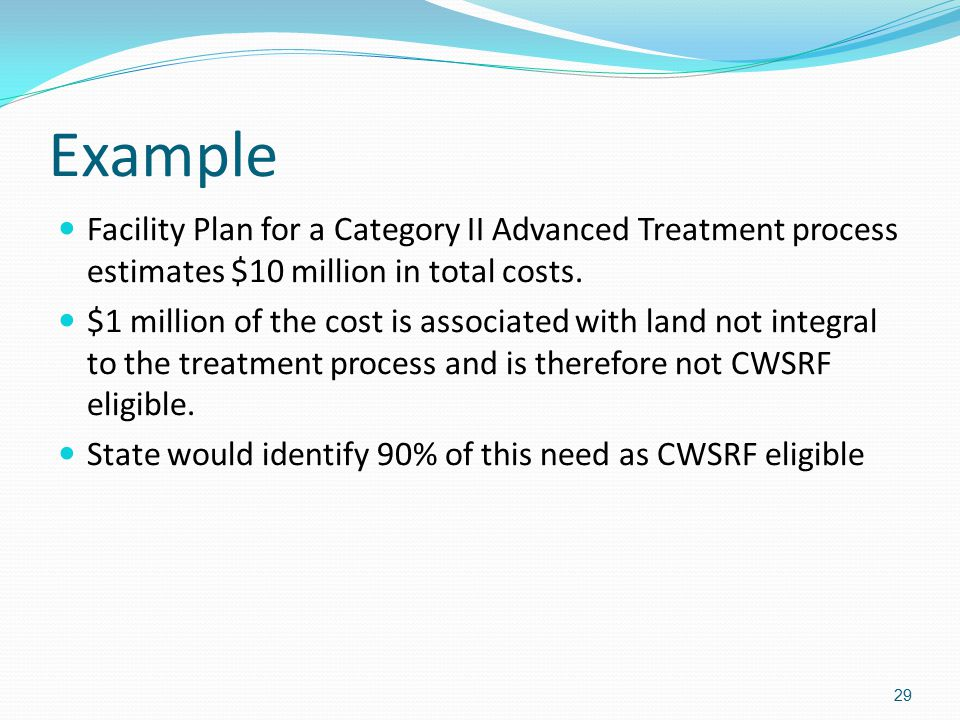 Example Facility Plan for a Category II Advanced Treatment process estimates $10 million in total costs.
