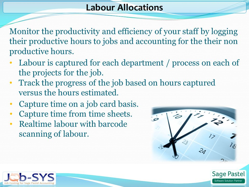 Monitor the productivity and efficiency of your staff by logging their productive hours to jobs and accounting for the their non productive hours.