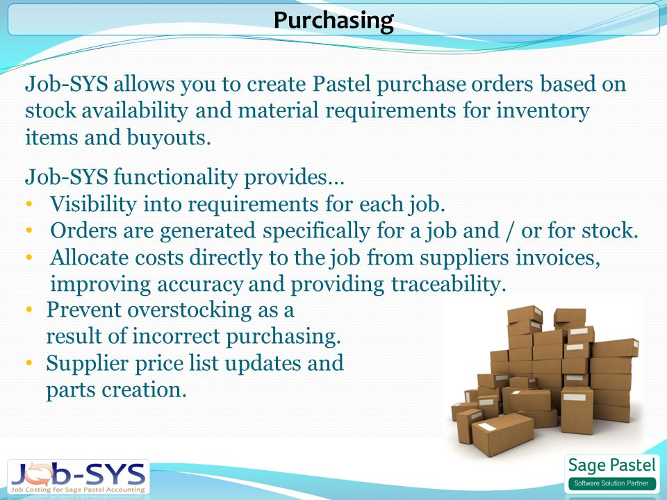Job-SYS allows you to create Pastel purchase orders based on stock availability and material requirements for inventory items and buyouts.
