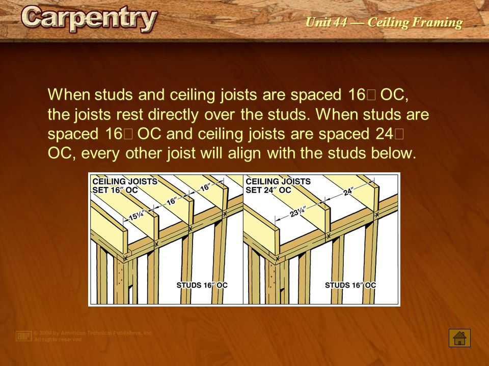 Unit 44 — Ceiling Framing A strongback provides central support for the joist span.