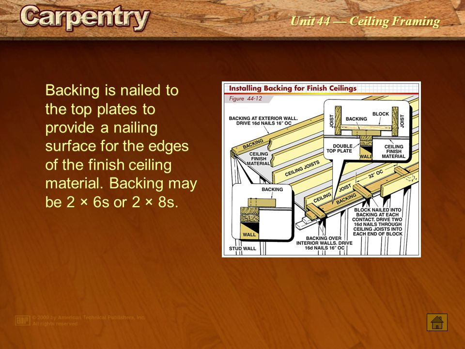 Unit 44 — Ceiling Framing A ledger board is nailed against the wall to provide a nailing surface for lower ceiling joists.