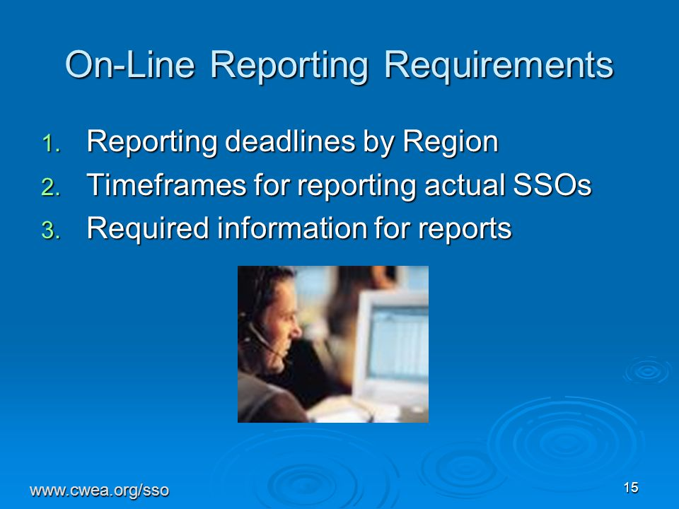 15 On-Line Reporting Requirements 1.Reporting deadlines by Region 2.