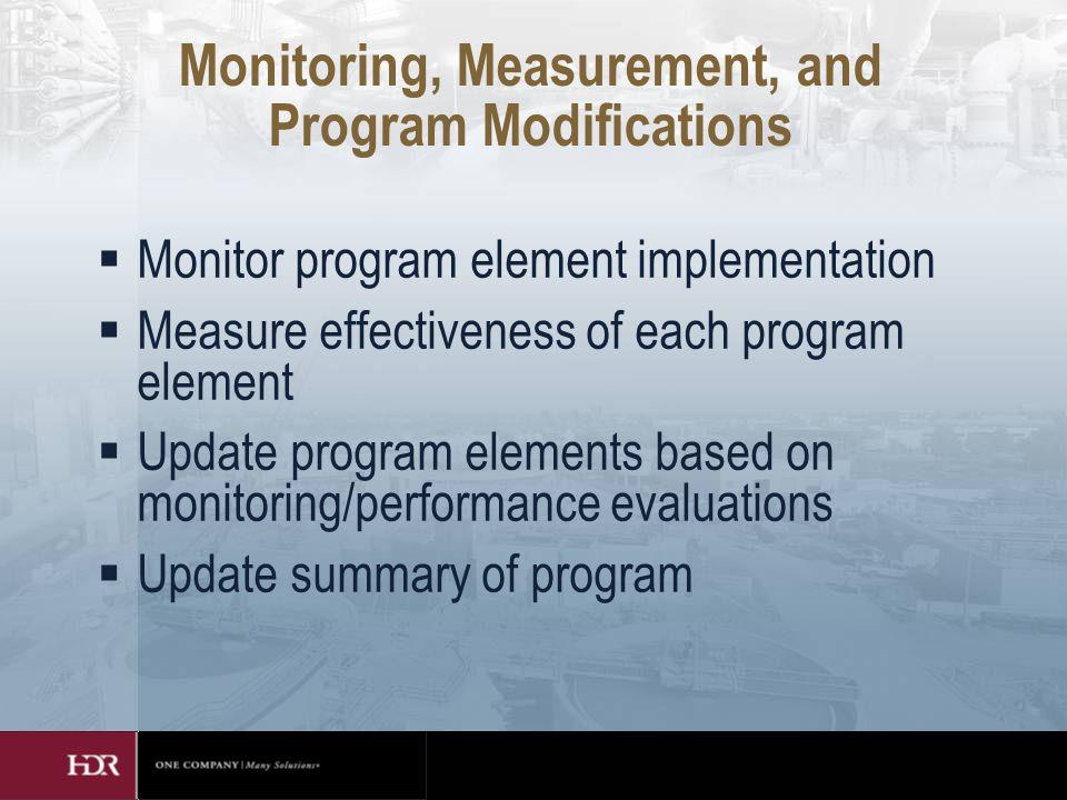 Monitoring, Measurement, and Program Modifications  Monitor program element implementation  Measure effectiveness of each program element  Update program elements based on monitoring/performance evaluations  Update summary of program