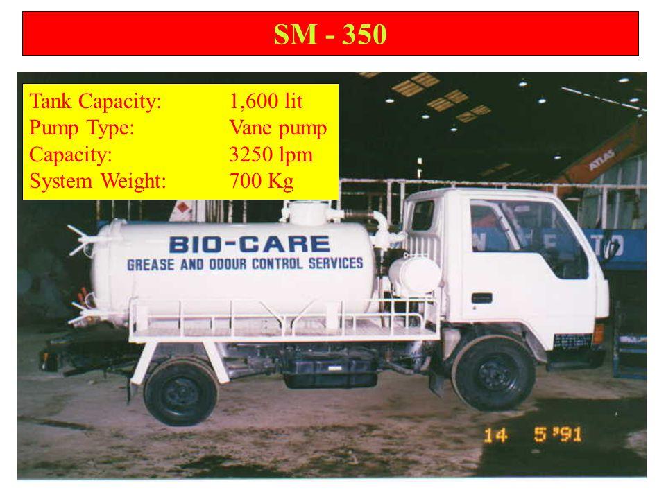 SM - 350 Tank Capacity:1,600 lit Pump Type:Vane pump Capacity:3250 lpm System Weight:700 Kg