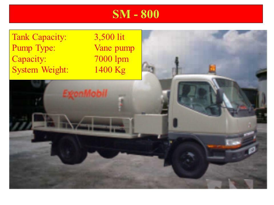 SM - 800 Tank Capacity:3,500 lit Pump Type:Vane pump Capacity:7000 lpm System Weight:1400 Kg
