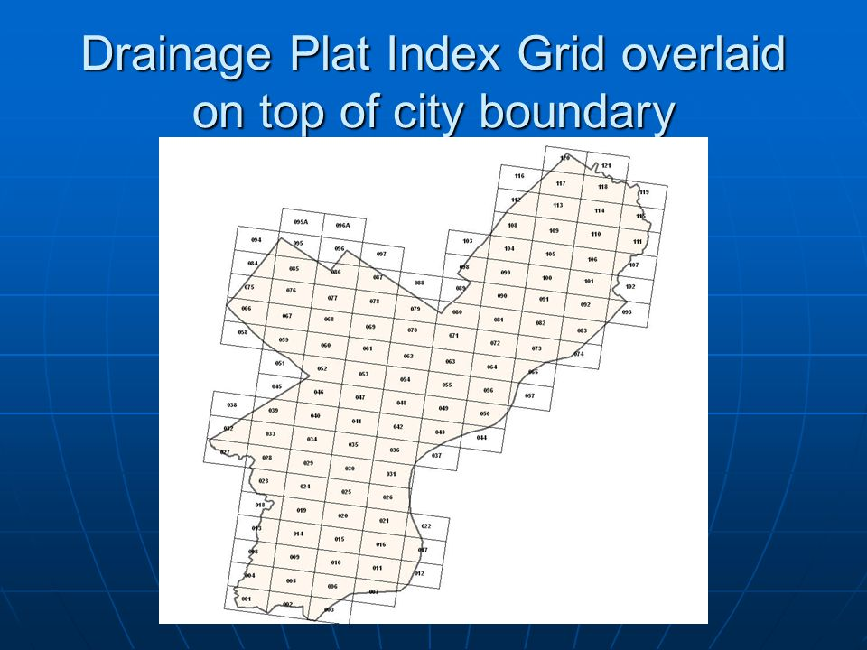 Drainage Plat Index Grid overlaid on top of city boundary