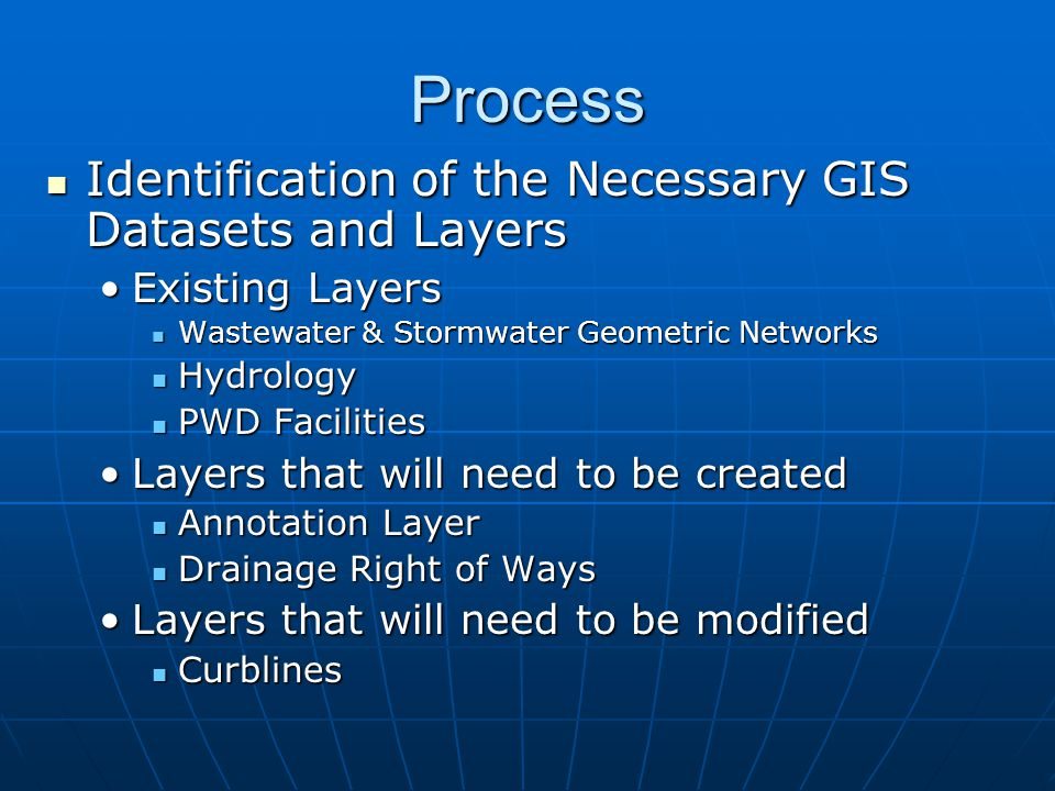 Process Identification of the Necessary GIS Datasets and Layers Identification of the Necessary GIS Datasets and Layers Existing LayersExisting Layers Wastewater & Stormwater Geometric Networks Wastewater & Stormwater Geometric Networks Hydrology Hydrology PWD Facilities PWD Facilities Layers that will need to be createdLayers that will need to be created Annotation Layer Annotation Layer Drainage Right of Ways Drainage Right of Ways Layers that will need to be modifiedLayers that will need to be modified Curblines Curblines