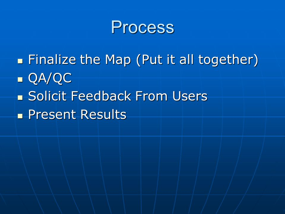 Process Finalize the Map (Put it all together) Finalize the Map (Put it all together) QA/QC QA/QC Solicit Feedback From Users Solicit Feedback From Us