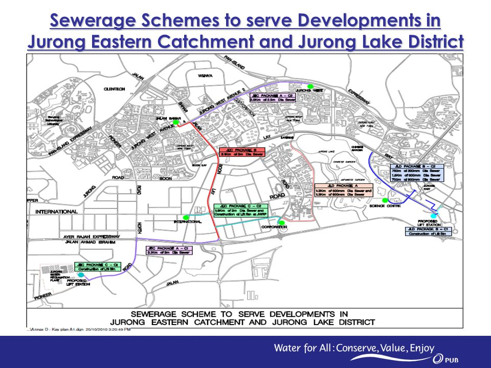 3 Expected Calling Date – December 2010 1.Package A – Proposed Sewers along Yuan Ching Road 500mm dia sewer – 1.2km 900mm dia sewer – 1.3km 2.Package B (Contract 1) – Proposed Lift Station at Jurong Town Hall Road 300 l /s capacity lift station Expected Calling Date – January 2011 1.Package B (Contract 2) – Proposed Sewers along Jurong Town Hall Road 300mm dia sewer – 750m 500mm dia sewer – 1.5km 900mm dia sewer – 700m Sewerage Schemes to serve Developments in Jurong Lake District