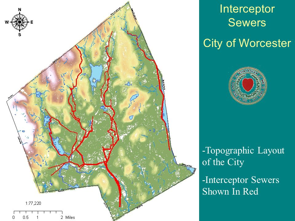 Worcester, Interconnected Waterways; Culverted Waterways on this map were constructed for Flood Control, Development, and the overall protection of the city.