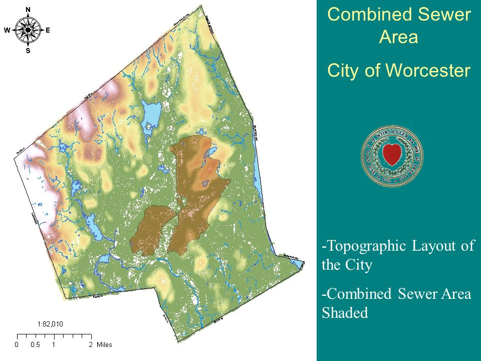 Combined Sewer Area City of Worcester -Topographic Layout of the City -Combined Sewer Area Shaded