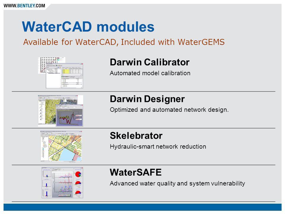 WaterCAD modules Darwin Calibrator Automated model calibration Darwin Designer Optimized and automated network design. Skelebrator Hydraulic-smart net