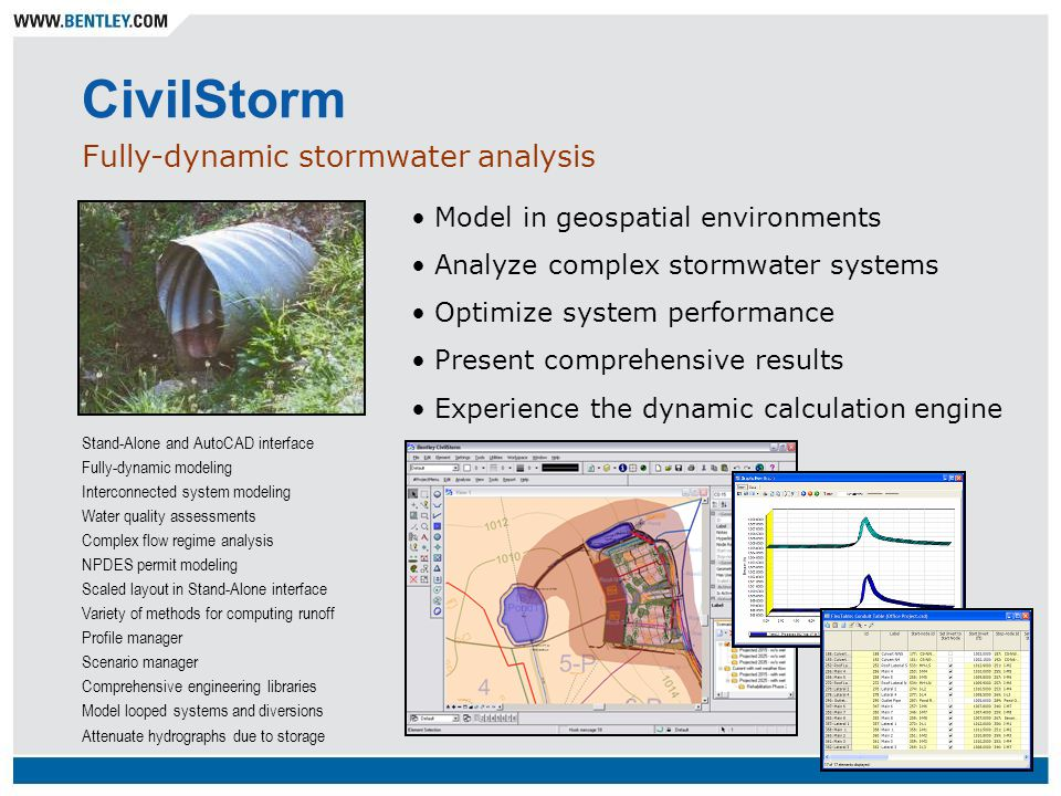 CivilStorm Fully-dynamic stormwater analysis Stand-Alone and AutoCAD interface Fully-dynamic modeling Interconnected system modeling Water quality ass